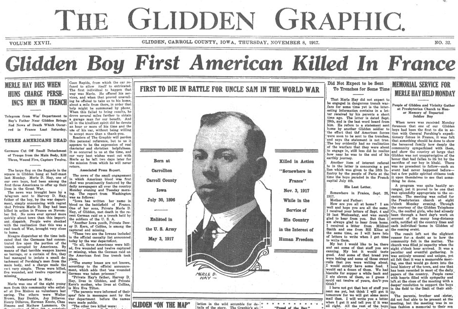 Glidden Graphic newspaper announcing death of Merle D Hay